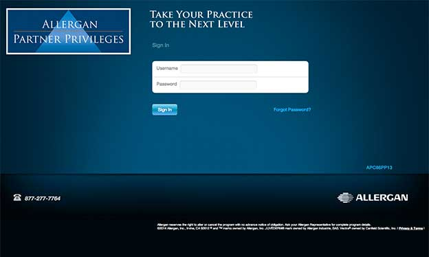 Logging in to Allergan Partner Privileges